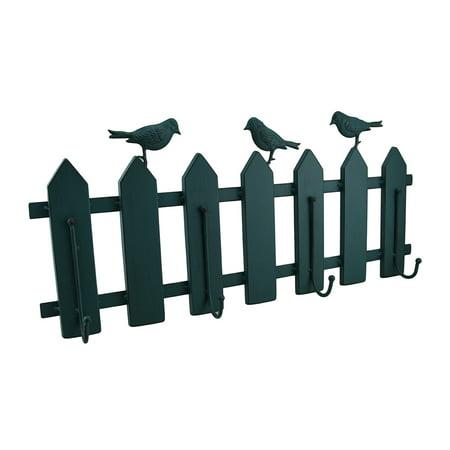Birds On A Fence Green Verdigris Vintage Finish Metal Hanging Wall Hook