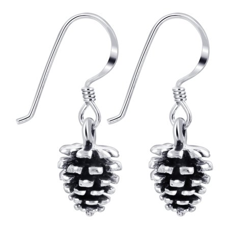 Gem Avenue .925 Sterling Silver Realistic Pinecone Drop Earrings with French Hook](Pinecone Jewelry)