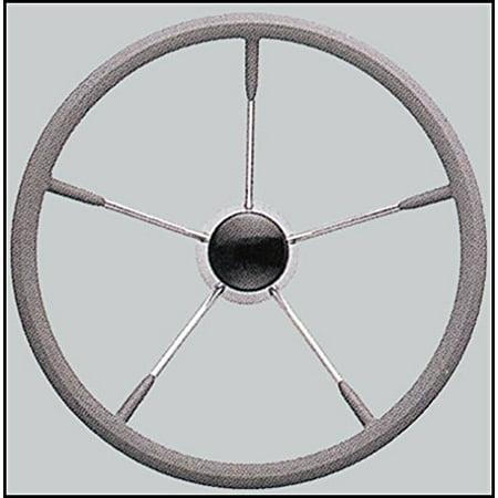 "SeaLux Marine Stainless Steel Steering Wheel, 15.5"" Diameter, 25 Degree Dish, Grey Form Comfort Grip, SeaLux Marine Stainless Steel Steering Wheel,.., By SeaLux Marine Products"