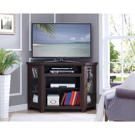 - Home Source Bay Corner Plasma TV Stand with 2 Glass Doors and 3 Center Shelves, Espresso Finish