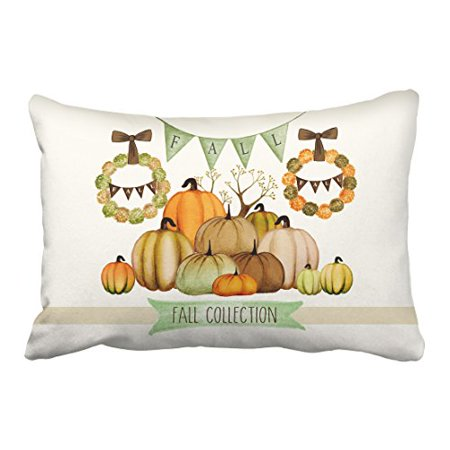 WinHome Happy Thanksgiving Fall Collection Pumpkins Decorative Pillow Cover With Hidden Zipper Decor Cushion Two Side 20x30 inches