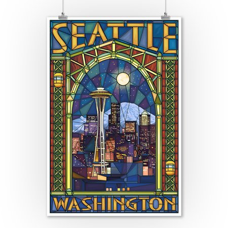 Seattle, Washington - Stained Glass Window - Lantern Press Artwork (9x12 Art Print, Wall Decor Travel Poster)