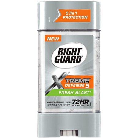 6 Pack - Right Guard Xtreme Defense 5 Antiperspirant Gel, Fresh Blast 4 oz