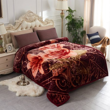 Home Bedding Roses Pretty Printing & Embossed Double Ply Super Warm Soft Crystal Velvet 9 lb Heavy Thick Plush Mink Blanket For King Size Bed 85