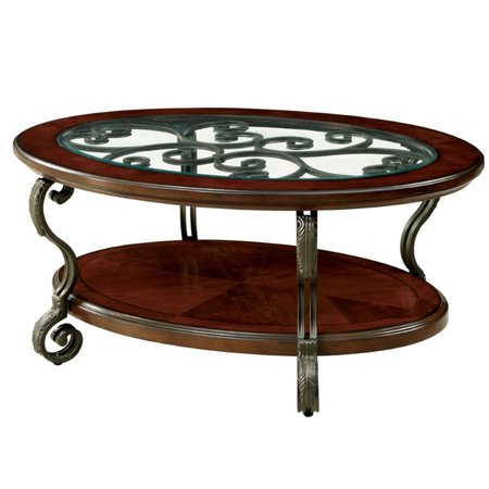 Furniture of America Azea Scrolled Leg Coffee Table in Brown Cherry ()