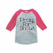 7 ate 9 Apparel Girls Pray for Snow Winter Pink Raglan Tee 3T