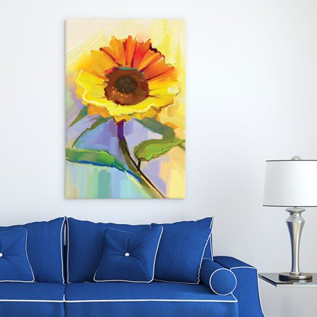 wall26 Canvas Wall Art - Oil Painting Style Sunflower - Giclee Print Gallery Wrap Modern Home Decor Ready to Hang - 16x24 inches