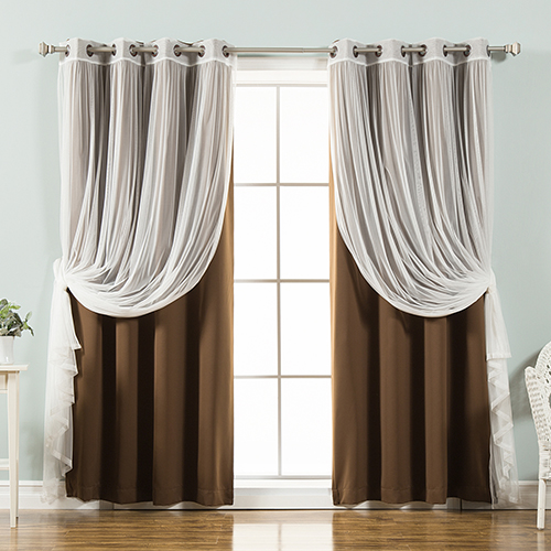 Chocolate 52 x 84 In. Sheer Lace and Blackout Window Treatments, Set of Four