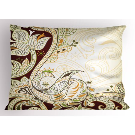 Ethnic Pillow Sham Oriental Floral Leaf Pattern with Middle Eastern Effects Design, Decorative Standard Size Printed Pillowcase, 26 X 20 Inches, Cream Chestnut Brown Lime Green, by Ambesonne ()