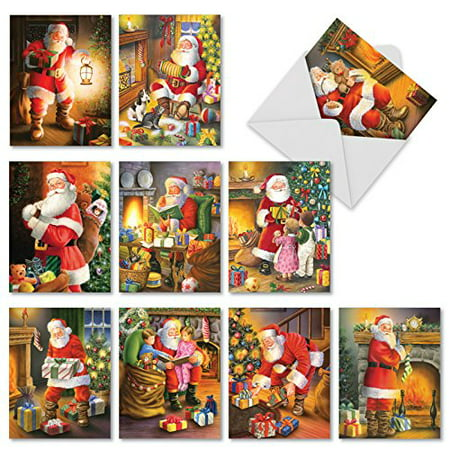 'M2291 SANTA GLOW' 10 Assorted Merry Christmas Greeting Cards Featuring Nostalgic Illustrations Of Santa On Christmas Eve with Envelopes by The Best Card Company