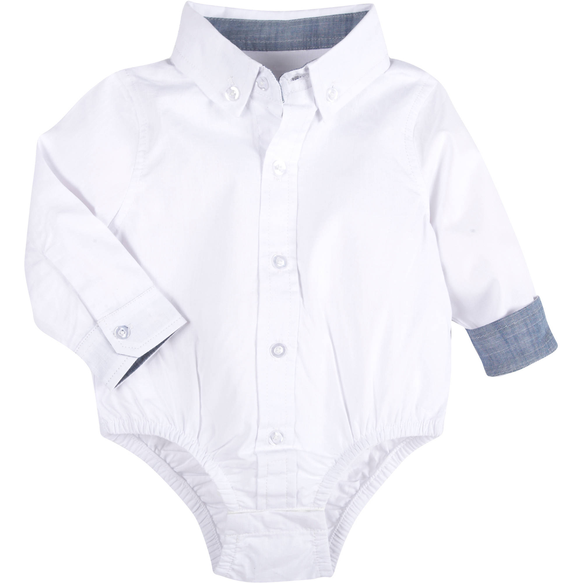 Newborn Baby Boys Chambray Shirt Bodysuit With Seersucker Bowtie