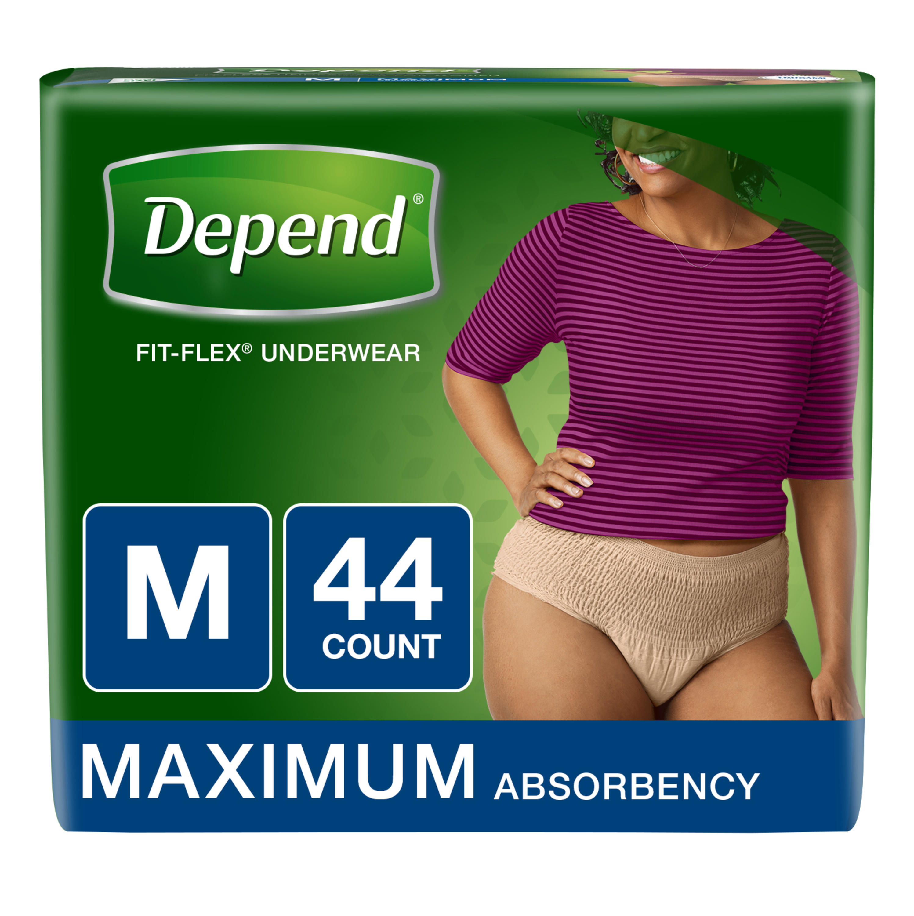 Depend FIT-FLEX Incontinence Underwear for Women, Maximum, M, Tan (Choose Your Count)