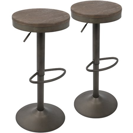 Bongo Lamp Stool - Dakota Industrial Adjustable Barstool in Antique and Brown by LumiSource - Set of 2