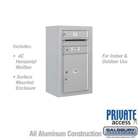 Salsbury 3808S-01AFP 31-0.62 in. 8 Door High Unit Single Column 1 MB1 Door & 1 PL5 Front Loading Surface Mounted 4C Horizontal Mailbox Unit, Aluminum - Private Access Aluminum 4c Horizontal Mailboxes