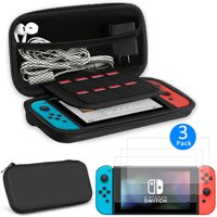 EEEKit 2in1 Starter Kit for Nintendo Switch/Switch Lite, Carrying Travel Hard Shell Case w/ Game Cartridge Holder + 3 Pcs Clear HD Screen Protector