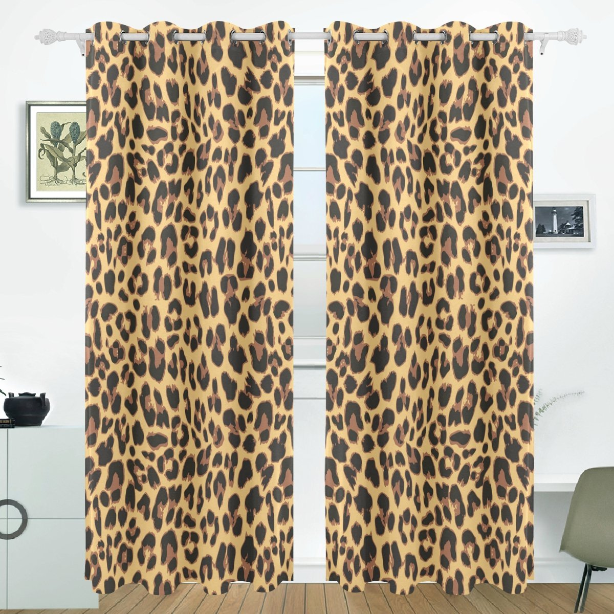 Popcreation Leopard Pattern Design Window Curtain Blackout