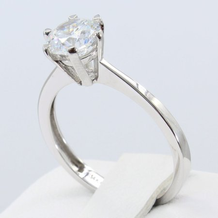 - 1.00 Ct 14K Real White Gold Cathedral Set Classic 6 Prong Round Solitaire Engagement Propose Promise Ring