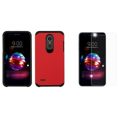 Atronoot Slim Dual Layer LG K30 Case with Dual Layer Soft Feel Hard Shell Silicone Shock-Proof Protection and Bubble-Free Tempered Glass Screen Protector for LG K30 (T-Mobile) - Red