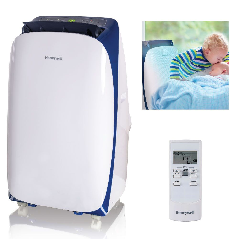 Honeywell HL14CESWB 14,000 BTU 115V Portable Air Conditioner for Rooms Up To 700 Sq. Ft. with Dehumidifier & Fan, White/Blue