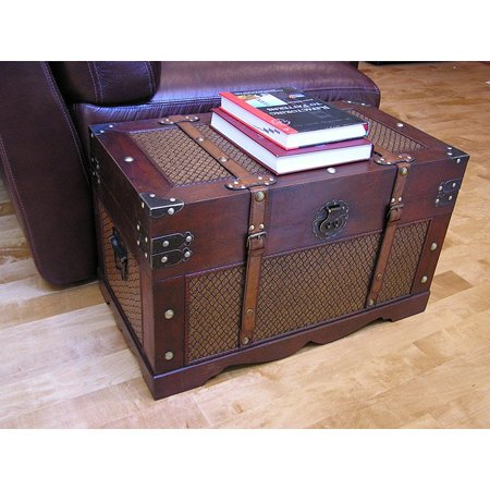 Styled Shopping Inc. Cambridge Medium Wood Trunk and Wooden Treasure Chest Treasure Box Chest Trunk