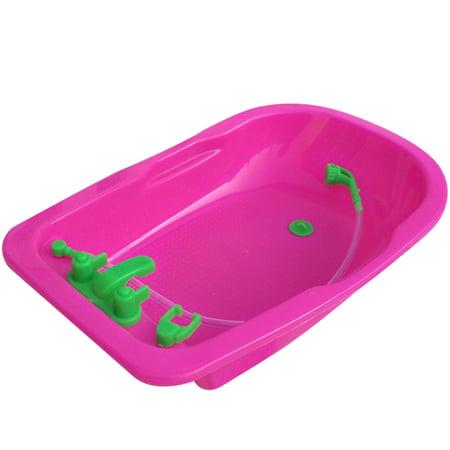 Fancyleo Dollhouse Furniture Miniature Shower Bathtub Bathroom Kids Collection Toy