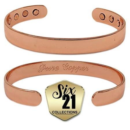 Polished Oval Magnetic Copper Bracelet For Arthritis Relief Pure 8 Magnets Adjule
