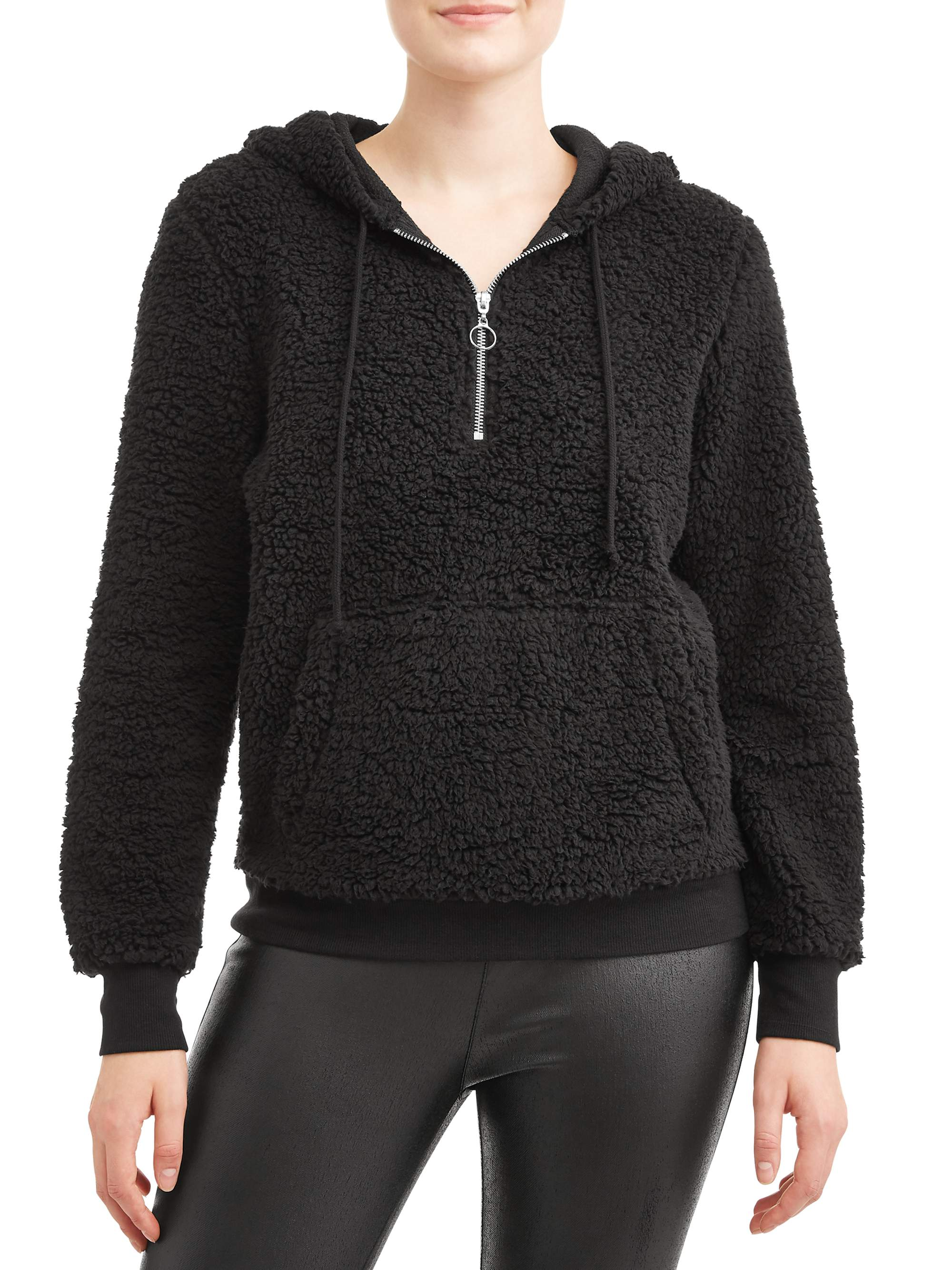 Juniors' Solid Sherpa Half Zip Sherpa Pullover Hoodie