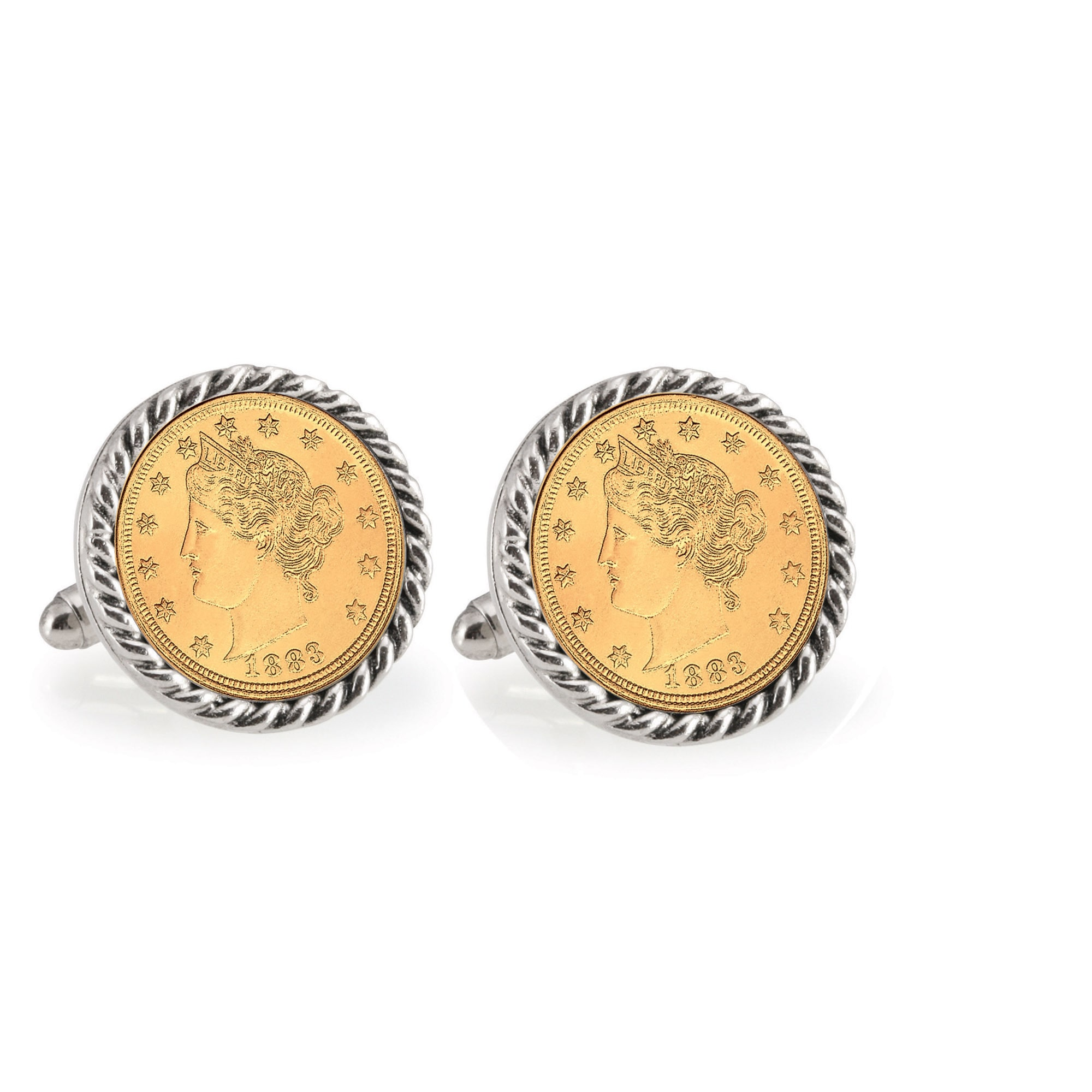 Gold-Layered Liberty Nickel Silvertone Rope Bezel Coin Cuff Links