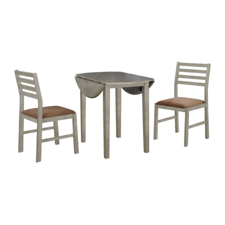 3Pcs Gray Solid Wood Round Dining Set With Brown Color Seats