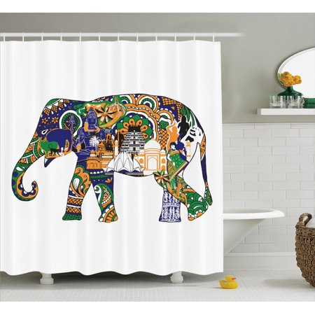 Elephants decor shower curtain set elephant with indian for Indian bathroom decor