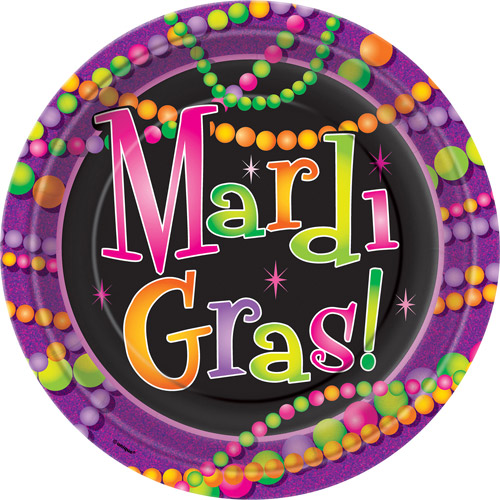 "9"" Mardi Gras Beads Paper Dinner Plates, 8ct"