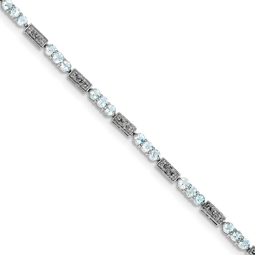 """925 Sterling Silver (0.02cttw) Aquamarine and Diamond Bracelet -7"""" (7in x 3mm) by"""