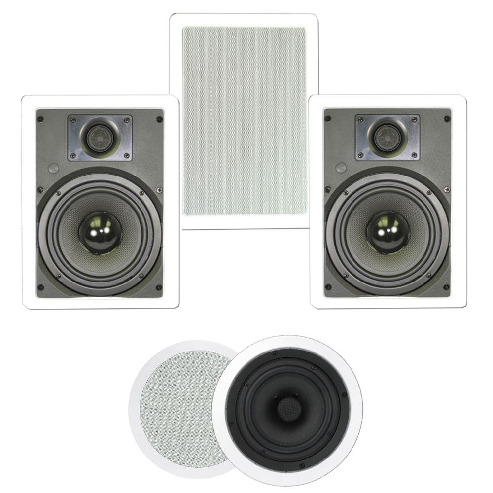 "Theater Solutions TS-85 1250 Watt 5CH 8"" In-Wall/Ceiling Home Theater Speaker System"