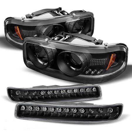 Fits 00-06 GMC Sierra Yukon Halo Projcetor Headlights + LED Bumper Signal Lamps