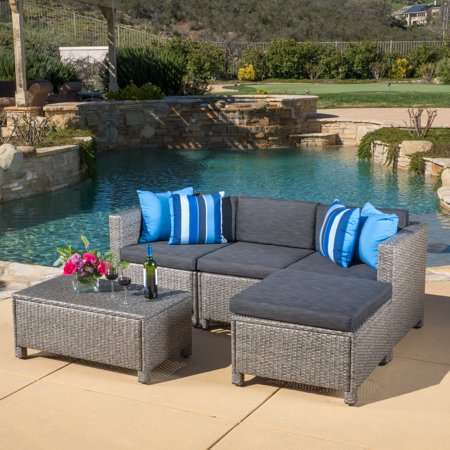 Cascada 5 piece Outdoor Wicker Sofa Sectional with Table and Cushions, Black and Grey ()