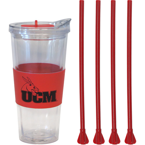 22oz NCAA Central Missouri Mules Straw Tumbler with 4 Colored Replacement Propeller Straws