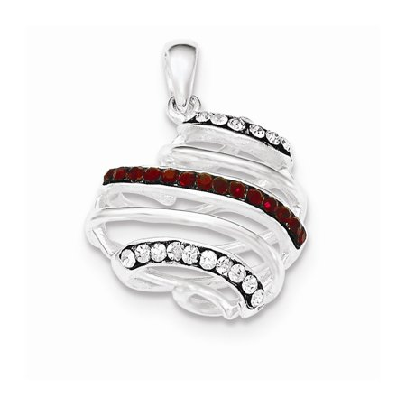 Roy Rose Jewelry Sterling Silver Polished Dark CLear and Red Crystal Heart Pendant