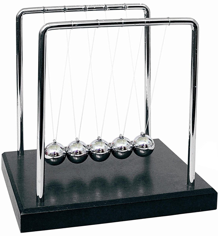 Aryellys Newtons Cradle Perfect Desk Toys Physics Toys Glass Balls and Light up Base Newton Cradle Glass Pendulum Balls with Light Up Base