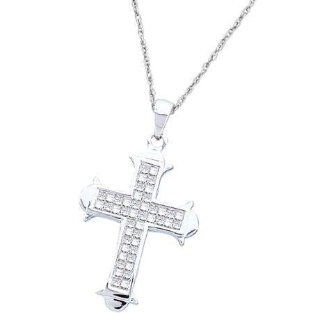 Princess Invisible Set Cross (14K White Gold 0.50ctw Shiny Invisible Set Diamond Princess Ladies Cross Pendant )
