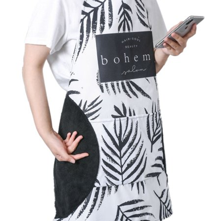 Kitchen Aprons, Stylish Leaves Plaid Polka Dots Letter Print Cooking Apron with Adjustable Neck for Men Women - image 1 of 5