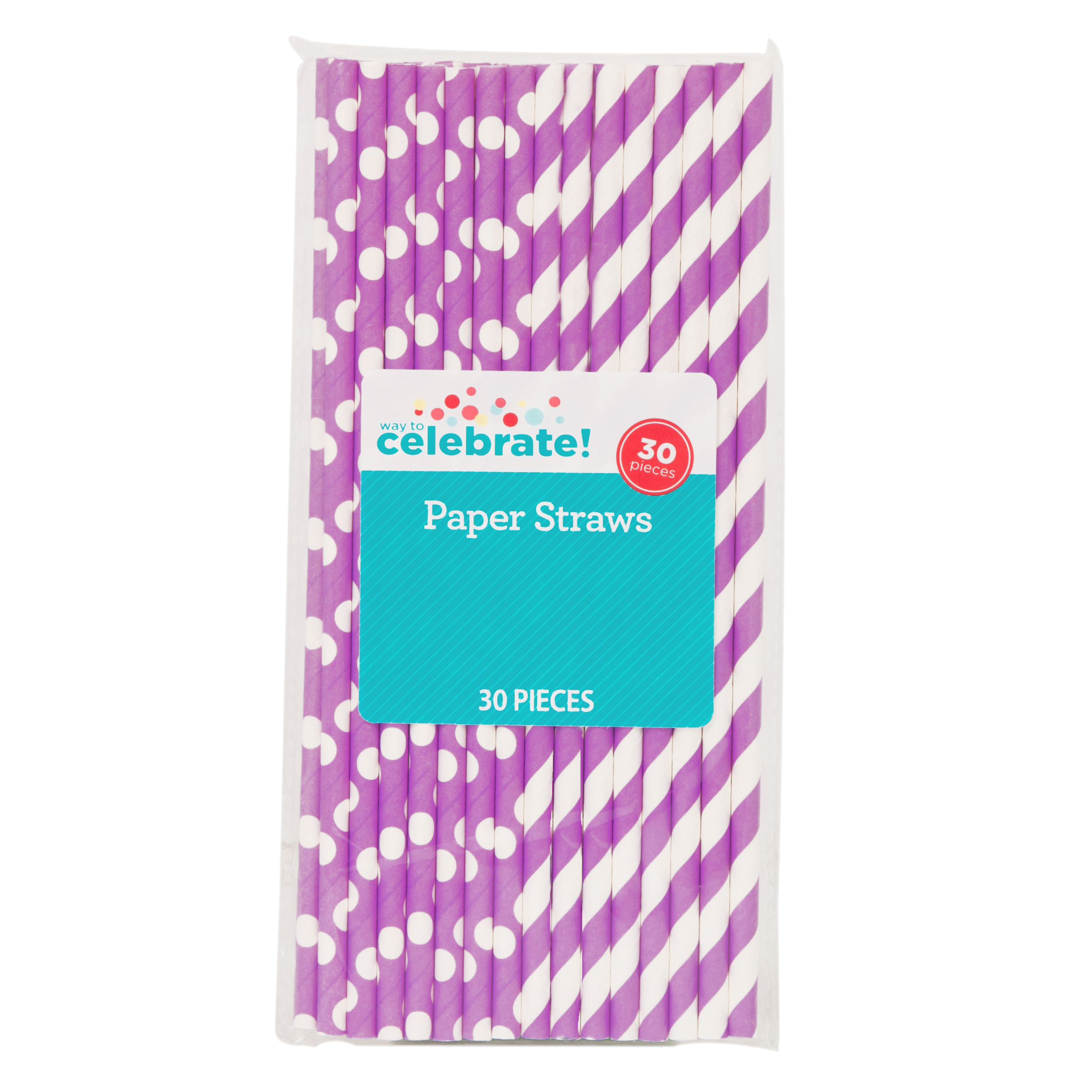 Polka Dot & Striped Paper Straws, 8.25 in, Neon Purple, 30ct