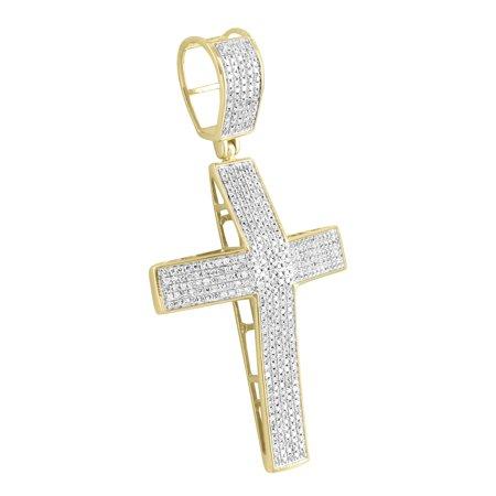10k Yellow Gold Cross Pendant Micro Pave Set Diamond 0.80 Carat High End Classy ()