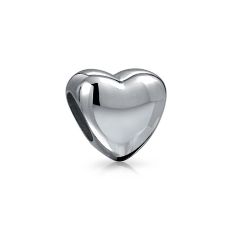 Basic Simple Heart Shape Polished Charm Bead For Women Teen 925 Sterling Silver Fits European Bracelet ()