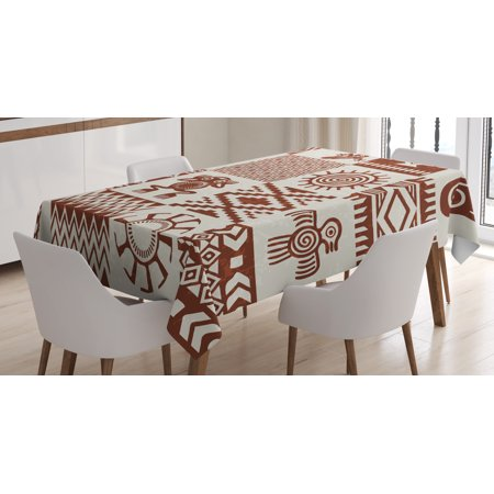 Southwestern Tablecloth, Frames with Ethnic Native American Patterns and Symbols Grunge Look, Rectangular Table Cover for Dining Room Kitchen, 60 X 90 Inches, Redwood and Eggshell, by Ambesonne