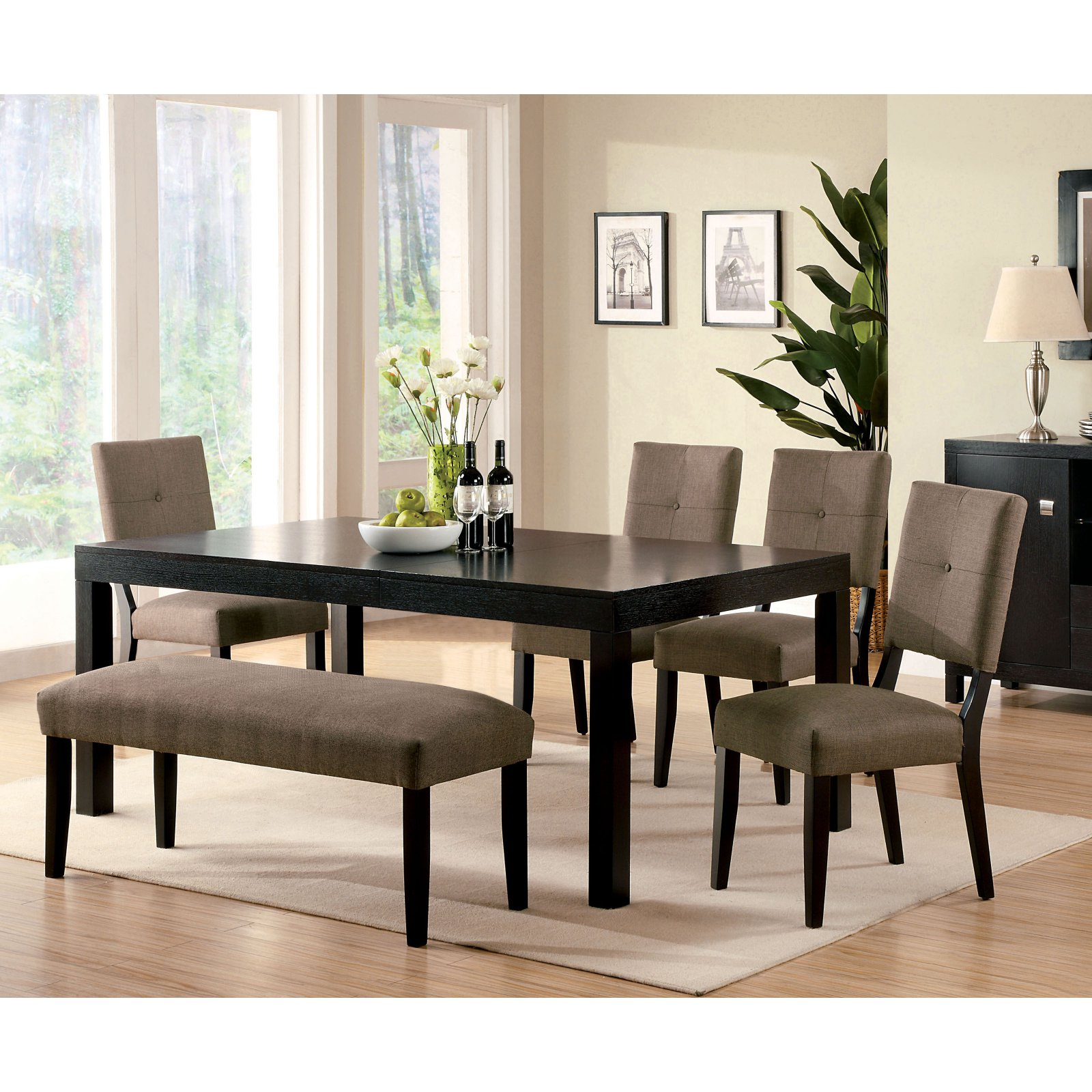 Furniture of America Jones 6 Piece Dining Set with Bench