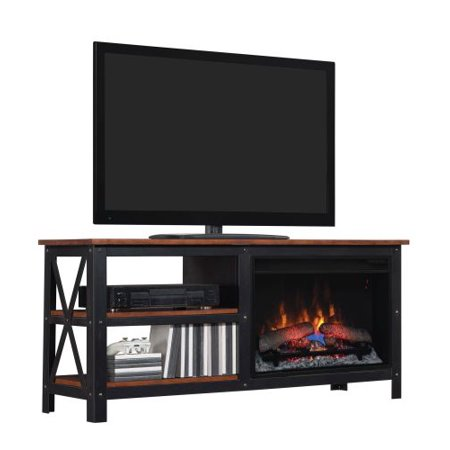 Grainger TV Stand w/ 25″ Curved IR Quartz Fireplace, Old World Brown