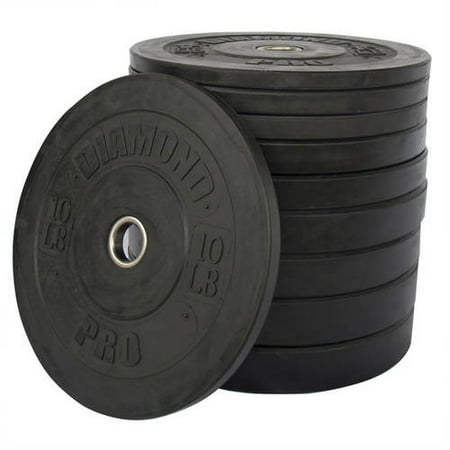 Diamond Pro 260 lb Bumper Plate Set, Black
