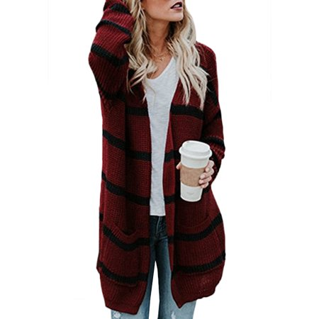 4b5727671dc UKAP - Womens Cardigan Loose Striped Sweater Long Sleeve Knitted Casual  Cardigan Outwear Jacket For Spring Winter Tops Coat with Pocket -  Walmart.com