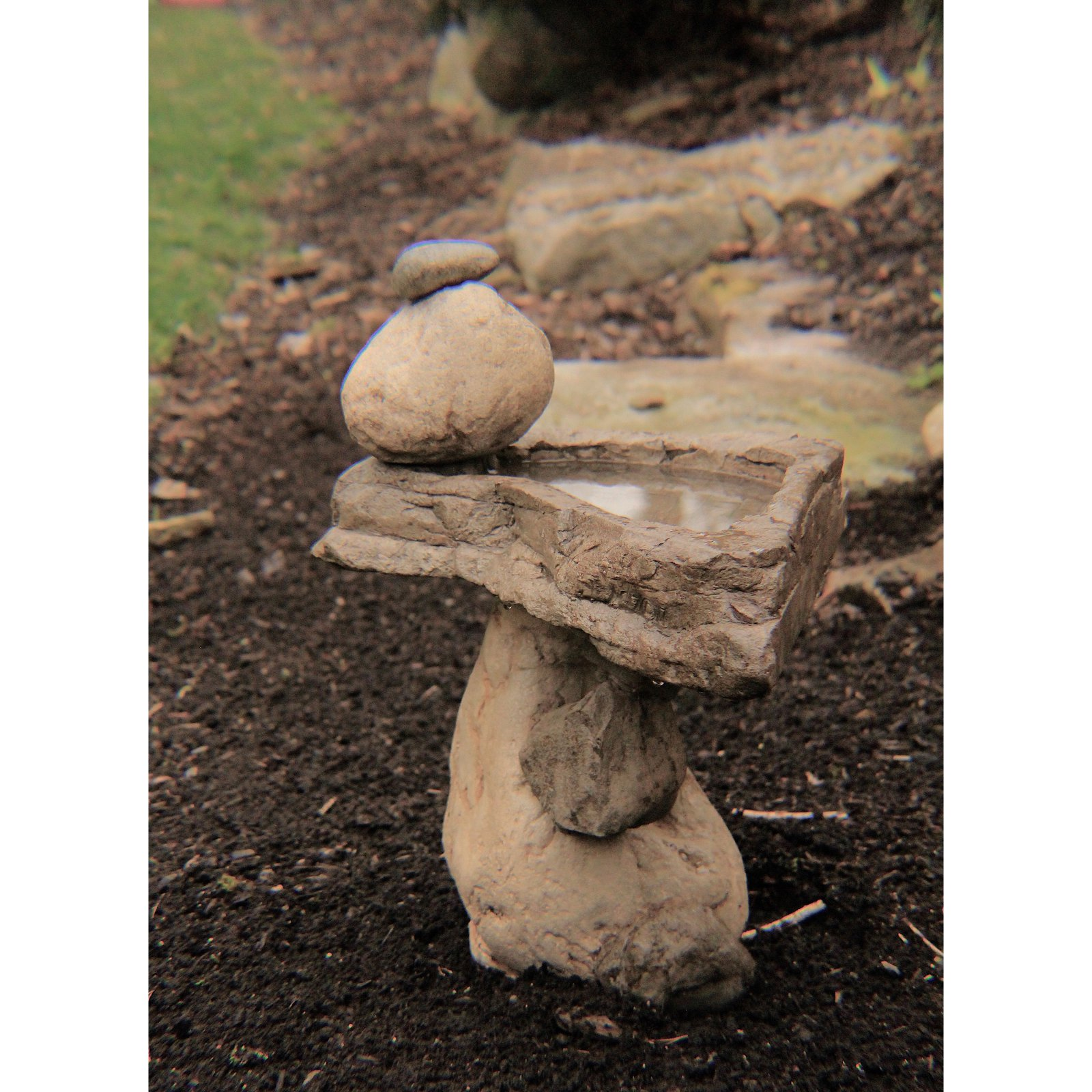 Athena Garden Balancing Rock Bird Bath