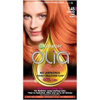 Garnier Olia Oil Powered Permanent Hair Color, 7.45 Dark Fire Ruby, 1 kit